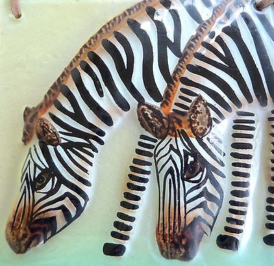 """HAND-PAINTED ZEBRAS on 6"""" x 6"""" x 1/8"""" GLASS TILE with LEATHER HANGER Excellent!"""