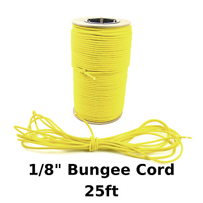 """25ft 1/8"""" Yellow Bungee Cord Marine Grade Heavy Duty Shock Rope Tie Down Stretch"""