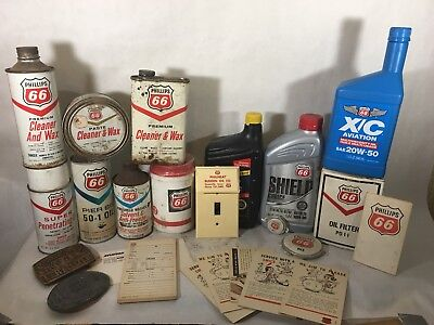 LARGE LOT of PHILLIPS 66 cans aviation, oil, spray light switch cover collection