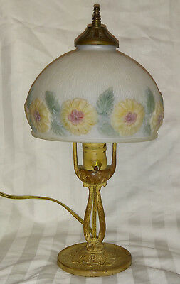 Antique Cast Iron Aladdin Dresser Boudoir Lamp Lamp, Puffy Reverse Painted Shade
