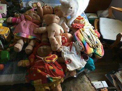 Lot of 7 Cabbage Patch Kids Clowns Baby Clothes 1 Birth Certificate