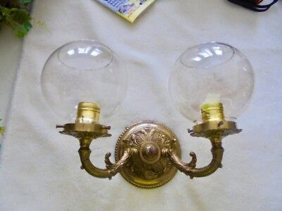 Vintage Shade Light Fixture Wall Sconce Brass Dual Electric Lamp Old
