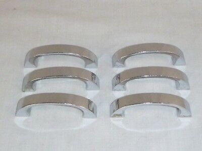 "6 Vtg Mid Century 2.75"" Chrome Heavy Drawer Pulls Cabinet Hardware"