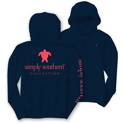 Simply Southern Womans Long Sleeve T-Shirt Turtle Hood Hoodie Navy Blue