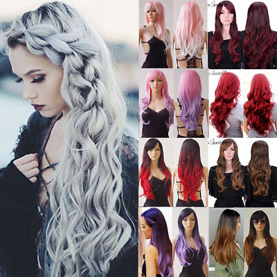 Hot Blonde Ombre Wig Natural Long Curly Straight Wavy Women Party Ladies Wig Uk