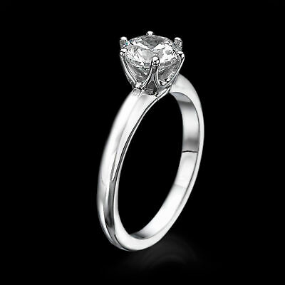 1/3 CT Solitaire Diamond Engagement Ring Enhanced Round Cut D/VS2 14K White Gold
