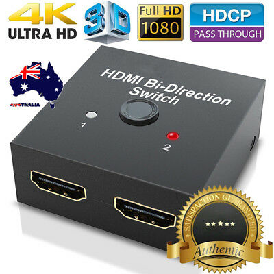AU 2-Port HD HDMI 2.0 Splitter Switch Selector Switcher Hub 1080p For HDTV PS3