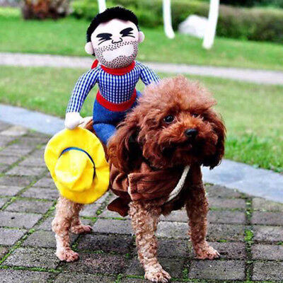 Dog Riding Horse Cowboy Funny Pet Costumes Puppy Halloween Party Costume Clothes