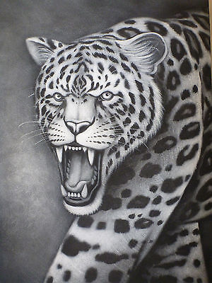 """""""Leopard"""" Still Life Panther Cougar Acrylic Painting Canvas Artwork"""