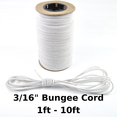 """3/16"""" White Bungee Cord Marine Grade Heavy Duty Shock Rope Tie Down Stretch Band"""