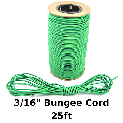 """25ft 3/16"""" Green Bungee Cord Marine Grade Heavy Duty Shock Rope Tie Down Stretch"""