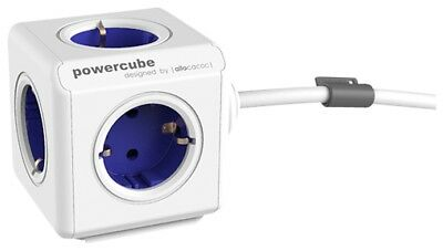 Mehrfachsteckdose allocacoc PowerCube Extended inkl. 1,5 m Kabel blau Type F