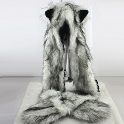 Wolf Hood Faux Fur Hat with scarf mittens ears and paws Spirit 3 in 1 Warm Hat G