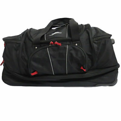 High Sierra 30 Inch Drop‑Bottom Wheeled Duffel Bag ‑ Black/Red (see notes)