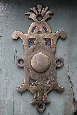 Victorian Reclaimed Ornate Brass Door Knocker Striker Plate old vintage door pin