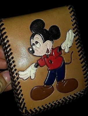 Vintage Mickey Mouse & Goofy Leather Hand Tooled Handpainted Bi-Fold Wallet