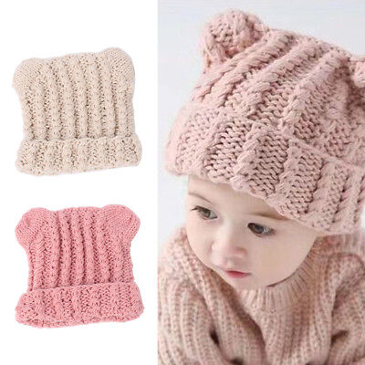 FT- Winter Small Ears Baby Boy Girl Knitted Beanie Solid Color Warm Cap Hat Crea