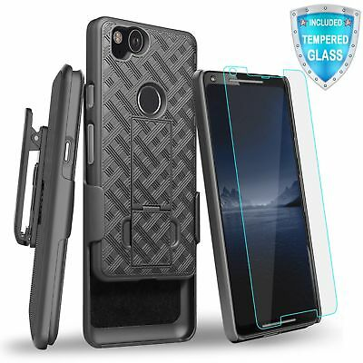 For Google Pixel 2 Hybrid Holster Belt Clip Kickstand Case with Tempered Glass