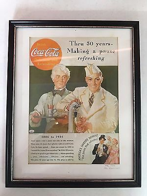 """Coca-Cola 1936 Ad """"Thru 50 YEARS Making a PAUSE REFRESHING"""" Coke Framed Fast S/H"""