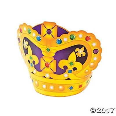 MARDI GRAS ~ 12 Crowns with Stickers Kids Crafts Party Favors Costume Attire