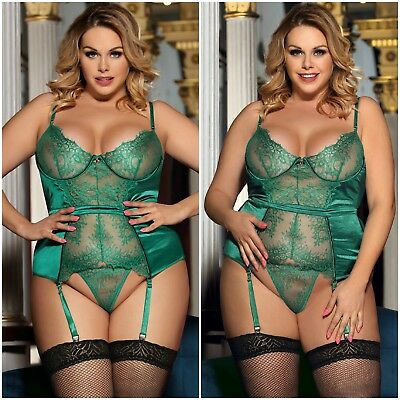 Sexy New Plus Size Emerald Green Lace Underwired Satin Teddy Garter G-string Set