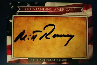 Mitt Romney Hand Signed Card Outstanding Americans (VG)