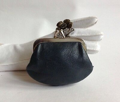 Vintage 1950s Dusky Blue Leather Coin Purse Gold Toned Frame Soft Fabric Lining