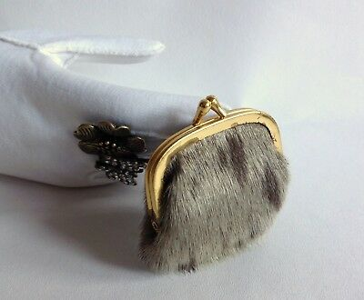 Small Grey Fur 1950s Vintage Coin Purse, With Red Fabric Lining & Kiss Clasp