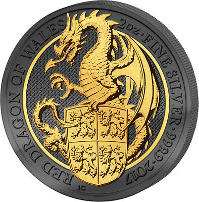 2 Oz Silber BU Queens Beasts Dragon of Wales Drache 2017 Golden Enigma Black R.