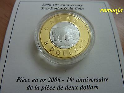 2006 Canadian 2$ Gold Coin 1/4 Oz *10Th Anniversary Of The Polar Bear* 22K Proof