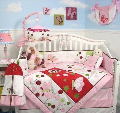 GIRL CRIB BEDDING SET PINK BUTTERFLY BABY Infant Baby Nursery 13 Piece Quilt+