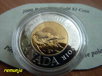 2000 Canadian 2 $ Gold Coin 22K - Path Of Knowledge / Polar  Bear - Proof Rare