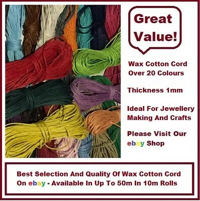 QUALITY 1mm WAXED COTTON CORD 10 METRES *23 COLOURS* JEWELLERY MAKING FREE POST