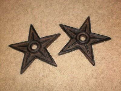 "Pair of 6"" Cast Iron Center Hole Stars Large Wall Repair Support or Decor"