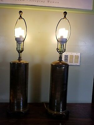 vintage pair of hammered brass cylinder table lamp wood orential  style base