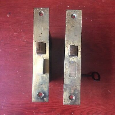 Antique Pair Of Victorian Eastlake Barrows Mortise Locks With Skeleton Key