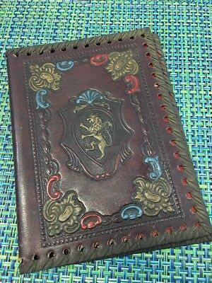 Fabulous Antique Leather Book Cover Embossed Heraldry Crest Braided Edge