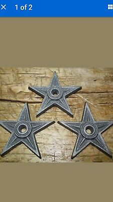 6 Cast Iron Stars Architectural Stress Washer Texas Lone Star Rustic Ranch 4 1/4
