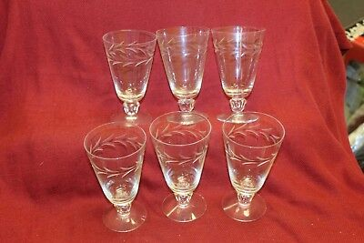 """Vintage Fostoria Etched Footed Juice Glass Set of 6 ~ Appox 4.75 """" Tall"""