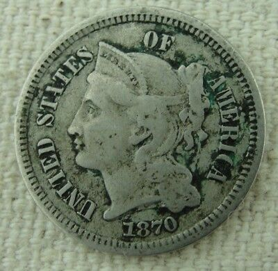 1870 3 Cent Nickel - Nice Old U.S. Collectible Coin - 3c Nickel