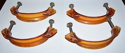 "Four Vintage Bakelite Art Deco Drawer Handles Pulls 3"" hole to hole 4"" total"