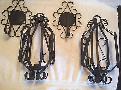 Vintage Home Interiors Sexton Wrought Iron (Gothic) Candle Holder Set Of 2
