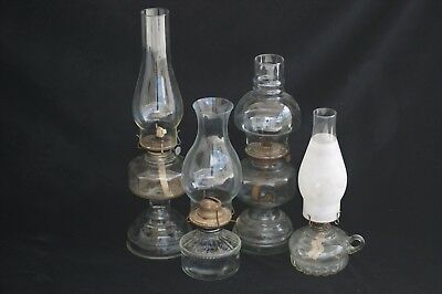 VINTAGE OIL LAMPS Lot of 4 Clear Glass Decorative Base Chimney Lamp Eagle Burner