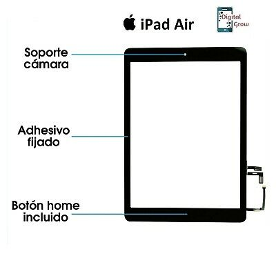 Pantalla Tactil Ipad 5 Air Screen Digitalizador + Boton Home + Ic Chip Negra