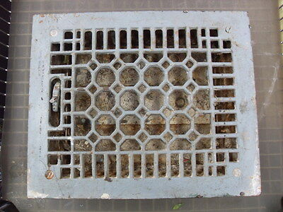 Vintage Cast Iron Heat Grate Vent Register Top 9 3/4 X 11 3/4 ART DECO #1916