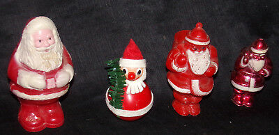 Vtg Christmas Santa Claus Hard Plastic Candy Container Figures Bobblehead Lot 4