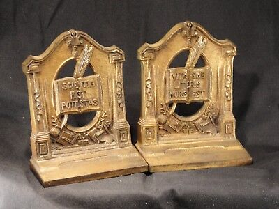 Antique Vintage Latin Cast Iron Bradley & Hubbard Bookends Rare!