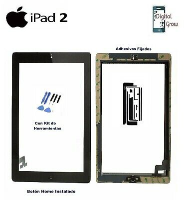 Pantalla Tactil Digitalizador Cristal + Adhesivos + Home Para Apple Ipad 2 Negro