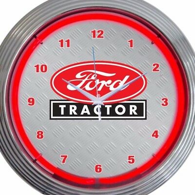 Ford Tractor Neon Clock Sign 15 Inch Diameter Red Black Agriculture Equipment