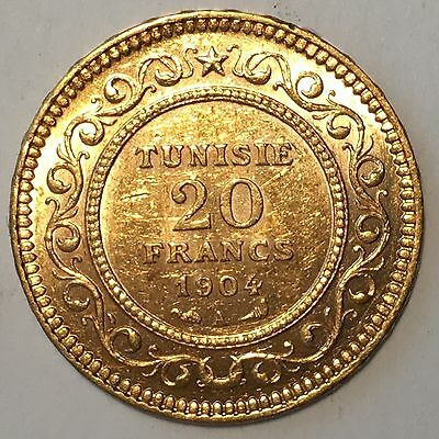 1904-A TUNISIA 20 Franc Gold Coin - High Quality Scans #D227